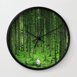 Green Wood Wall Clock