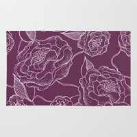 floral pattern Area & Throw Rugs featuring Floral Pattern by Vickn