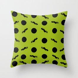 Discs & Flows (Black & Yellowgreen) Throw Pillow
