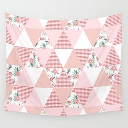Quilt quilter cheater quilt pattern florals pink and white minimal modern nursery art Wall Tapestry