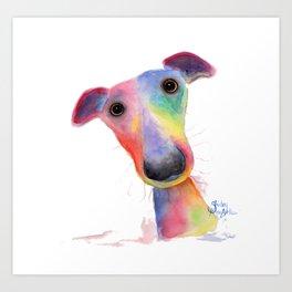 Nosey Dog Whippet / Greyhound ' HANK ' by Shirley MacArthur Art Print