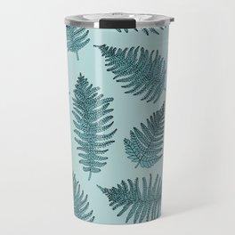 Blue fern garden botanical leaf illustration pattern Travel Mug