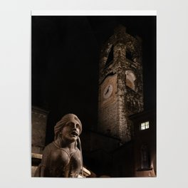The fountain in Piazza Vecchia, the Sphinx of the Contarini fountain in the background the Civic Tow Poster