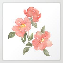 Loose watercolor peonies Art Print