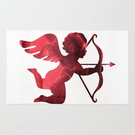 Cupid With Arrow, Eros and Psyche, Cupid Valentine Print, Valentine's Day Red Cupid Home Decor Rug
