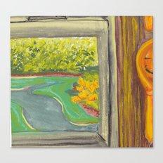 Kitchen Window with Happy Spoon Canvas Print