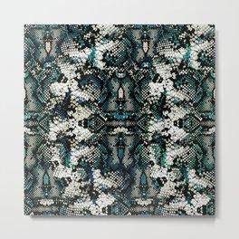 Teal Animal Print Pattern Metal Print
