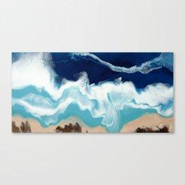 Tsambou, a beach on Samos island, Greece; Resin abstract painting Canvas Print