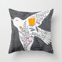 floral bird on grey illustration Throw Pillow