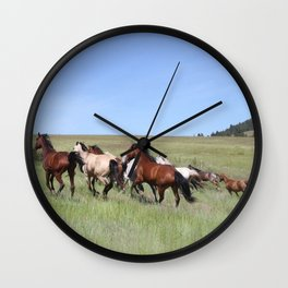 Running Horses Photography Print Wall Clock