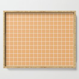 Mellow apricot - pink color - White Lines Grid Pattern Serving Tray
