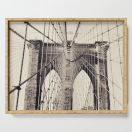 Brooklyn bridge, New York city, black & white photography, wall decoration, home decor, nyc fine art Serving Tray