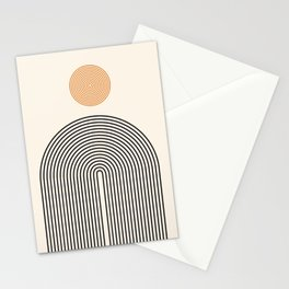 Abstraction_SUN_LINE_BLACK_CIRCLE_POP_ART_Minimalism_009B Stationery Cards