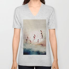 Flock of Flamingos Unisex V-Neck
