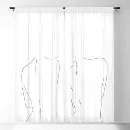 Nude back line drawing illustration - Drew Blackout Curtain