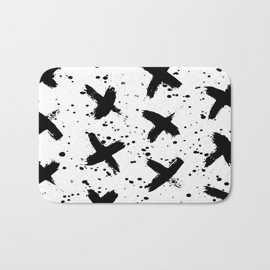 X Paint Spatter Black and White Bath Mat