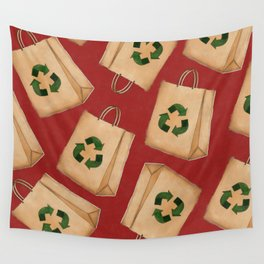 Recycle Symbol on Paper Bag Wall Tapestry