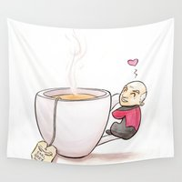 picard Wall Tapestries featuring Tea, Earl Grey, Hot by Cattifer