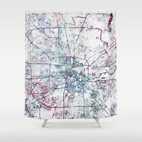 houston Shower Curtains featuring Houston map by MapMapMaps.Watercolors