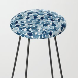 Blue Abstract Watercolor Counter Stool