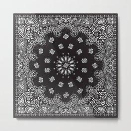 Paisley - Bandana - Black - Southwestern Art Metal Print