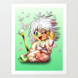 kawaii chibi sorcerer elf with butterflies Art Print