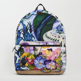 Pansies and Teapot oil Still Life Backpack