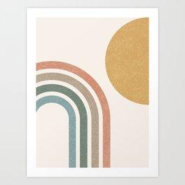 Mid Century Colorful Sun & Rainbow Art Print