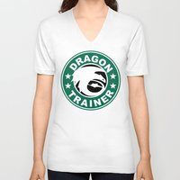 hiccup V-neck T-shirts featuring Dragon trainer by Ainy A.
