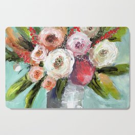 Peach and White Roses Cutting Board