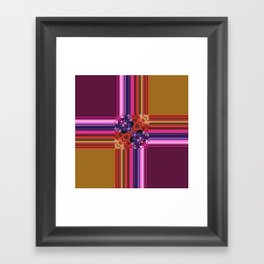Purplish-Red and Gold Colorblock Abstract Framed Art Print