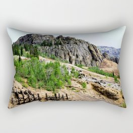 Eureka Mine and Rocky Crags Towering Overhead Rectangular Pillow