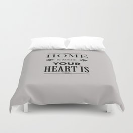 Home Heart grey - Typography Duvet Cover