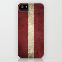 Old and Worn Distressed Vintage Flag of Latvia iPhone Case