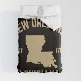 New Orleans Louisiana Map Established 1718 NOLA Duvet Cover