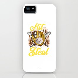 I Teach Kids To Hit And Steal Funny Baseball Coach iPhone Case