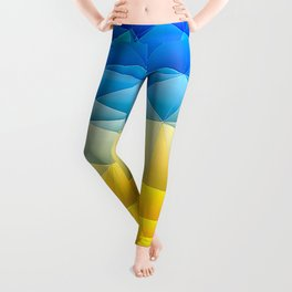 Sunshine and Blue Sky Quilted Abstract Leggings