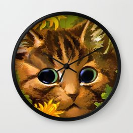 """Louis Wain's Cats """"Tabby in the Marigolds"""" Wall Clock"""