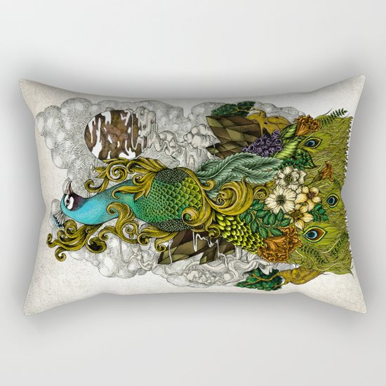 Floral Peacock Rectangular Pillow