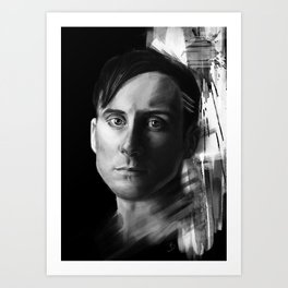 Stevie Aiello | Digital Portrait black & white Art Print