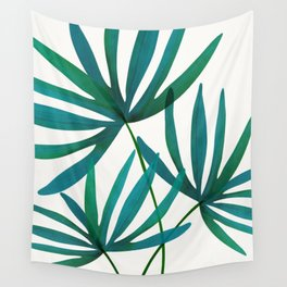 Fan Palm Fronds / Tropical Plant Illustration Wall Tapestry
