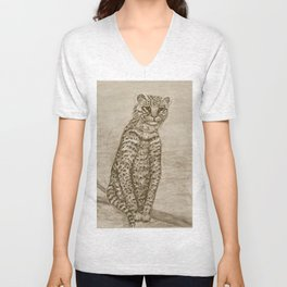 Ocelot Watching, by Ave Hurley Unisex V-Neck