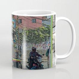 STREET SCENE IN KATHMANDU TRUCK AND MOTOR BIKE Coffee Mug