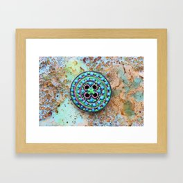 Button for happiness Framed Art Print