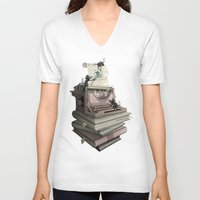 bookworm V-neck T-shirts featuring Bookworm by BlancaJP