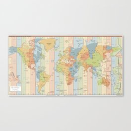 World Time Zone Map Canvas Print