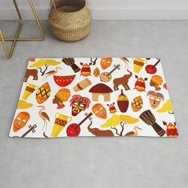 Colorful African animals and symbols pattern Rug