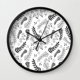 Black and White Botanical Pattern Wall Clock