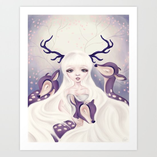 Deer: Protection Series Art Print