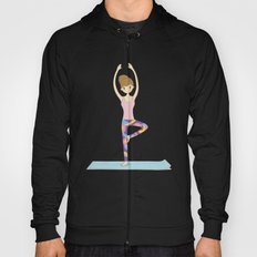Yoga Girl in Tree Pose illustration Hoody
